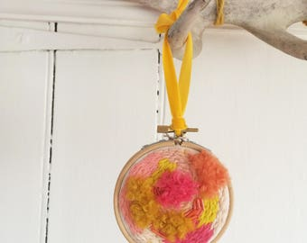 Citrus Coloured Embroidery and Embellished Hoop