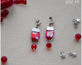 Pink liberty fabric earring with red beads