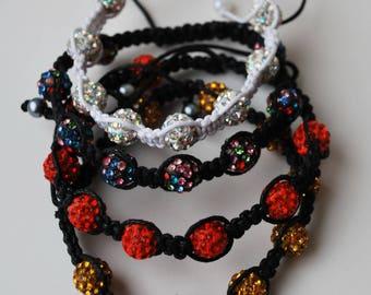 Bracelet female, Shamballa bracelet, handmade bracelet, bright bracelet, gift for her, boho style, bracelets waxed cotton