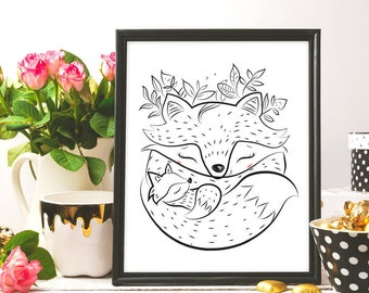 fox mum and child, best mom ever, mother's day print, nursey art, doodle art, ink art, mum card, gift for mum, printable art, digital print