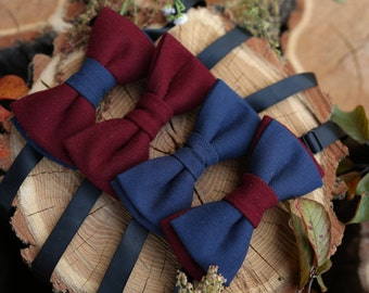 Christmas gift For Boyfriend Clothing gift Mens Bow tie set Burgundy Navy peony Holiday outfit For men Anniversary Bowties Black Friday