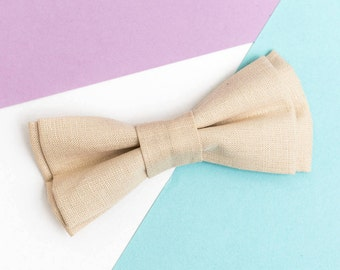 Ring Bearer outfit Sand Linen bow tie Boys bow tie Bow tie for men Rustic wedding Wedding bow tie Groomsmen gift Wedding stuff Ivory Bowties