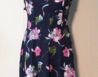 Vintage 1970s Navy Blue Jewel Tone Floral Sundress with Adjustable Straps