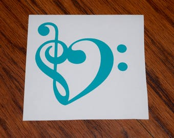 Music Note Heart, Music Note Decal, Treble Clef Heart, Bass Clef Heart, Treble Clef Decal, Bass Clef Decal, Musical Notes, Music Heart Decal