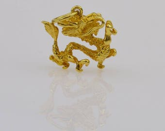 14k Yellow Gold Figural Chinese Dragon Pendent 3.7 Grams(01446)