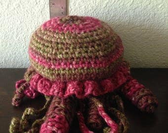 Crocheted Jellyfish - pink & green