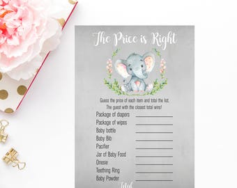 The Price is Right Printable Games, Baby Shower Printable Games, Watercolor Baby Shower Games, Girl Baby Shower, Elephant Printable Games