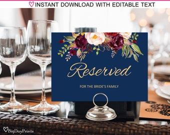 Reserved Sign, Wedding Reserved Table Sign, Reserved Card, Printable Reserved Sign, Burgundy, Marsala, #A033, INSTANT DOWNLOAD, Editable PDF
