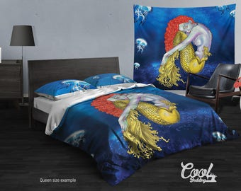 Mermaid Duvet Cover or Comforter, Mermaid Bedding Set Twin, Full, Queen, King Bedding,