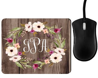 Monogrammed mousepad, Personalized mouse pad, monogram mouse pad, rustic mouse pad, floral mouse pad, mouse pad, office decor, decor office