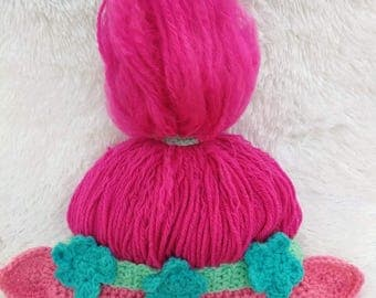 Crochet Poppy Inspired Troll hat, 0-3, 3-6, 6-12, 12-24 month,  toddler,  child size**PATTERN ONLY**