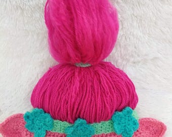 PATTERN ONLY -Crochet Poppy Inspired Troll hat, 0-3, 3-6, 6-12, 12-24 month,  toddler,  child size