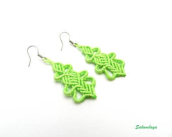 earrings, macrame, green, ethnic