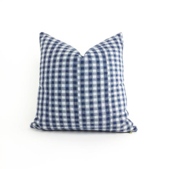 16 x 16 Navy and Ivory Buffalo Plaid Check Pattern Pillow Cover - Vintage African Hand Woven Fabric