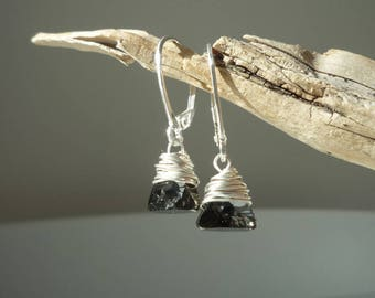 Earrings in 925 sterling silver and swarovski crystal pendant