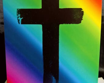 Cross on multicoloured background - Greeting Card