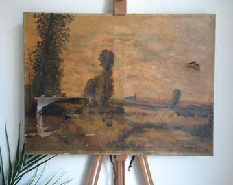 Very old destroyed original oil painting France country scene torn rustic