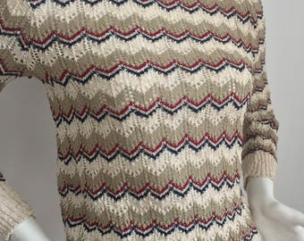 Vintage Alfred Dunner Tan, Blue, and Burgundy Colored Crocheted Sweater/Made in USA /Size Medium