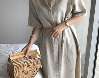 2Colors wrap summer dress - Wrap  Dress-Natural Linen Dress- Linen Dress with belt-Summer Dress-Long Linen Dress -loose maxi dress