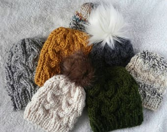 Custom cable hat, cable beanie with faux fur pom, faux fur pom beanie, slouch cable hat, braided hat, custom winter beanie,women's cable hat