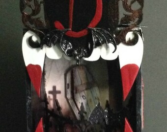 Count Dracula Vampire Diorama Box Altered Art OOAK