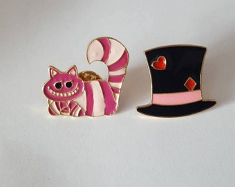 Mad hatter pin, cheshire cat pin, cat pin,  mad hatter brooch, cat brooch, hat pin, Alice tea party pin, mad hatters tea party pin, enamel
