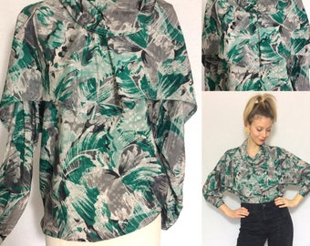 1980's silk blouse, Turtle neck blouse, 1980's vintage, For her.
