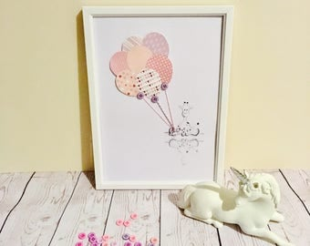 Nursery Picture/Print/Drawing Handmade - Baby Girl Giraffe. Can be personalised. White or Wooden Frame