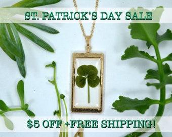 "SALE! Genuine 5 Leaf Clover Rectangle Necklace [AC 012] /Rose Gold Tone 18"" Necklace / White Clover Pendant/Triforium Repens/Good Luck Charm"