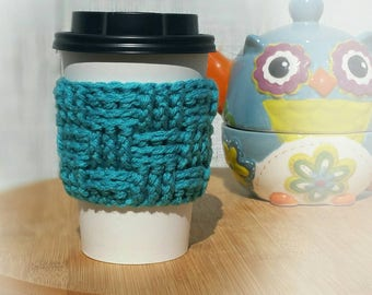 Teal Crochet Cup Sleeve - Springtime Basketweave Everyday Cup Sleeve in Pond
