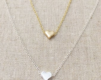 Heart Necklace, Gold Necklace, Silver, Layering Necklace,Delicate Necklace,Dainty Necklace, Birthday Gift,Bridesmaid Gift, graduation gift