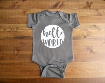 Hello World Infant Onesie - Choose Your Color and Size