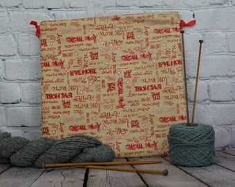 SALE--Love More bag,  Knitting Bag, Crochet Bag, Yarn Bag,  Project Bag, Sock knitting bag