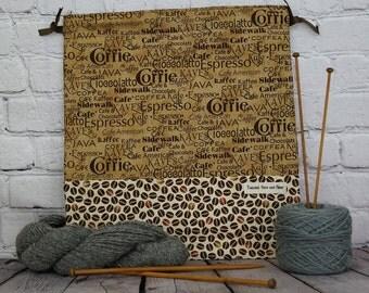 Coffee Java print,  Knitting Project Bag, Crochet Project Bag, Yarn Bag, Project Bag, Sock knitting bag, Shawl project bag