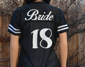 Bachelorette party Football Jersey Bride and wedding year on back choose custom design on front - Sexy Football Jersey Bride tribe