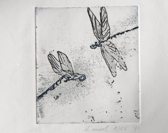 The flight. Dragonfly print.