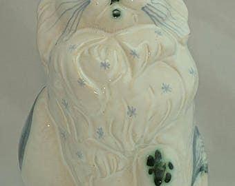 David Sharp RYE British Art Pottery Blue & White Cat Money Box Figurine