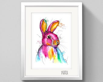 A3 Rabbit Watercolour Print