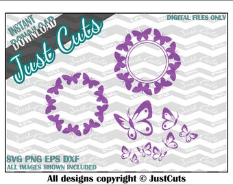 Monogram frame svg, butterfly svgs, svg frames, svg set, frame svg set, border svg set, cute svg set, customized svg, svg files, cut files