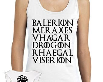 Game of Thrones Shirt - Balerion Meraxes Vhagar Drogon Rhaegal Viserion Tararyen Dragons Shirt - Khaleesi Daenerys Targaryen Tank Top Shirt