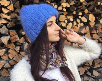 Oversized Knit hat Slouchy cable knit hat Chunky hat Slouchy beanie hat Blue mohair hat