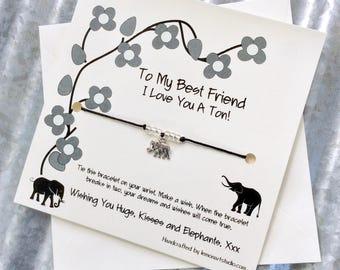 Friendship Bracelet Gift For Best Friend Bracelet Friendship Elephant Best Friends Friendship Wish Bracelet Best Friend Elephant