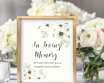 In Loving Memory Sign, Printable Memorial Sign, Wedding Printable Sign, Remembrance Sign,  Floral Watercolor, Watercolor Anemone #A001
