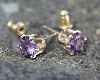 14 K Gold Fill Birthstone Post Earrings, 6 Prong Studs with 6 mm Lab Created Gemstones, Gold Buttercup Setting & Bullet Clutch, Gift for Her