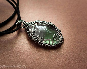 Silver pendant Wire wrapped necklace fluorite pendant Wire wrap necklace gift for her OOAK Beauty gift