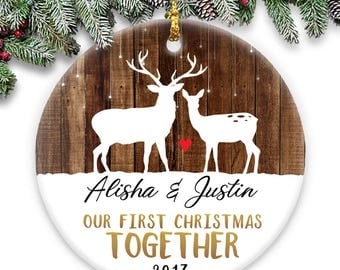 Our First Christmas Together - Deer - Personalized Christmas  Round Ceramic Ornament- Personalized with Names and Year