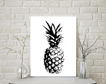 Pineapple Wall Art, Pineapple Decor, Pineapple Print, Pineapple Prints, Pineapple, Kitchen Decor, Minimalist, Tropical Print, Modern, Prints