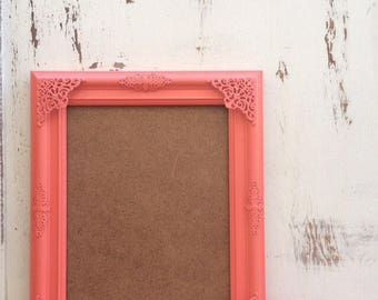 8x10 Wood Picture Frame, Coral, French Country, Shabby Chic, Ornate, Photo Frame, Embellished, Wedding Sign, Nursery, Home, Wall Decor