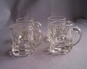 Federal Glass Toy Mugs, Four Vintage Miniature Clear Glass Mugs