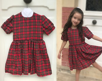 Dress Red girl with Cap sleeves 100% cotton - tartan plaid Scottish girl dress